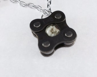 bicycle chain pendant with Ocean Jasper bike jewelry