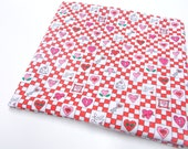 Pink & Red Sewing Fabric, Trena Hegdahl Heart Print,  Cotton Remnant
