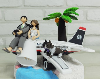Custom Wedding Cake Topper - Airplane Landing on the Destination of Honeymoon with Gamestick-