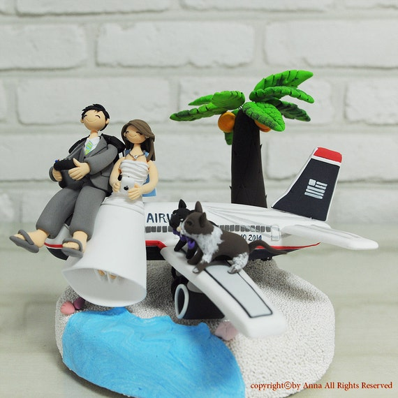 Custom Wedding Cake Topper Airplane Landing On The