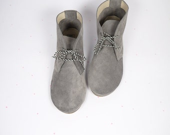 Desert Mini Boots in Gray Grey Leather Handmade Laced Shoes