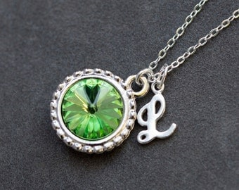 August Birthstone Necklace, Personalized Initial Jewelry, Mother's Birthstone Necklace, Peridot Silver Letter Necklace, New Mom Necklace