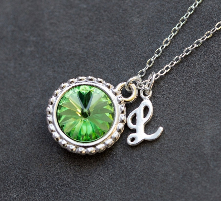 August Birthstone Necklace Personalized Initial Jewelry