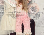 Vintage Chic Baby Pink... Long Baby Pink Lace Petti Romper with Vintage Ivory  Lace Trim..Great for Photo Shoots and  Tea Parties