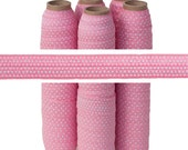 Pink with White Dots Print - Fold Over Elastic - 5 YARDS