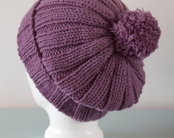 Purple Beanie Hat - Mauve Knitted Slouch Merino Wool Lilac Pom Pom Hat Gift for Her Winter Accessory by Emma Dickie Design