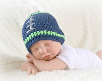 Crochet Baby Football Beanie - Newborn to Adult - Dark Country Blue/Limelight/Heather Grey - MADE TO ORDER