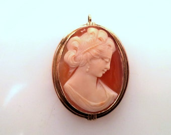 Signed Van Dell 12K Gold GF Carved Cameo Pendant Brooch Combination Jewelry