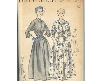 Butterick 4789 1950s Dress Full Skirt Kimono Sleeves