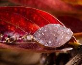 Pink Druzy Quartz, Tourmaline and Gold Necklace