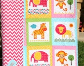 Animal Baby Quilt, Patchwork, Safari Zoo Jungle Blanket, Pink Orange Blue Girl, Monkey Zebra Giraffe Ann Kelle Zoologie, Toddler Bed Blanket