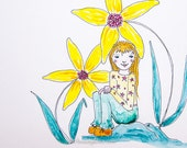 Flower Fairy, Spring Greeting Card, Sunflower Girl, Tiny Girl Big Flowers, Greeting Card or Photographic Art Print