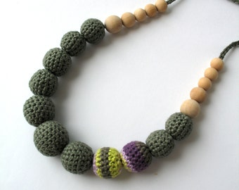 CLEARANCE SALE - Cotton Wooden Nursing Necklace - Crochet Necklace for mom and child - Teething Necklace -  in jungle   E198