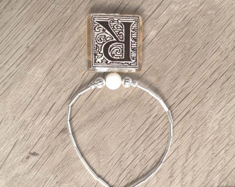 "Initial Letter ""R"" Monogram Glass Tile Pendant With Liquid Silver Beads Necklace"