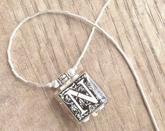 "Initial Letter ""N"" Monogram Glass Black and White Tile Pendant With Liquid Silver Beads Necklace"