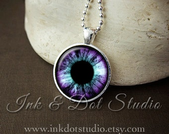 Purple & Teal Eye Necklace, Eye Iris Pendant, Purple Eye Necklace, Eyeball Pendant, Halloween Necklace