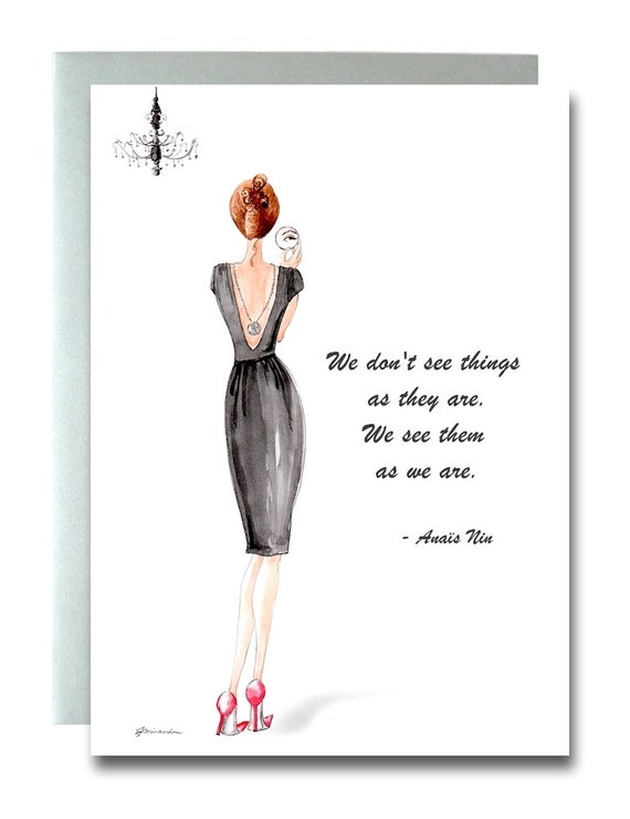 Fashion Illustration Greeting Card, Quotable Women, Artfully Fashioned, Watercolor, Fashionista, Black & Red, Anais Nin, Thoughtful Quote