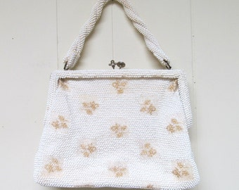 Vintage 1960s Purse / 60s Ivory Plastic Beaded Handbag