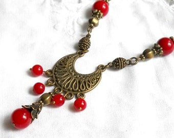 red jade necklace bohemian necklace necklace red bohemian necklace boho necklace red stone necklace brass necklace