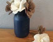 "Forty 4-5"" Round Burlap Rose Stemmed Flowers"