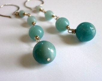 Blue Amazonite Ombre Earrings Long Beaded Silver Chain Earrings Blue Gemstone Dangles Blue Wedding Rosary Chain Earrings Blue Drop Earrings