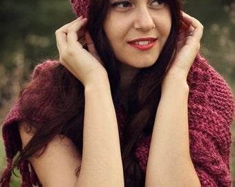 Women Hat Scarf Set, Matching knit scarf hat set, Burgundy scarf hat set, Matching set scarf hat, Knit Matching hat scarf set