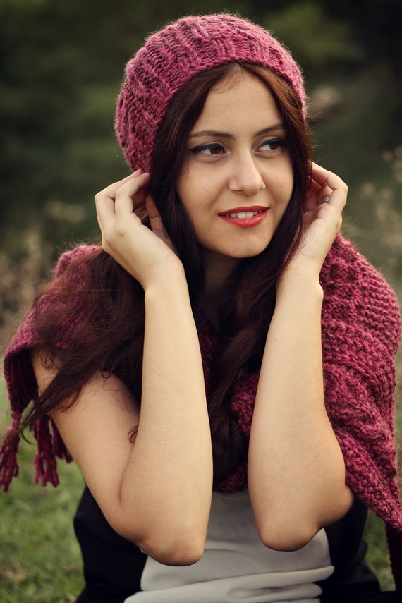hat scarf set matching knit scarf hat set burgundy