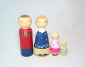 Large Wooden Peg Doll Family of 4- Personalized Custom Hand Painted Wood Peg Family Dolls