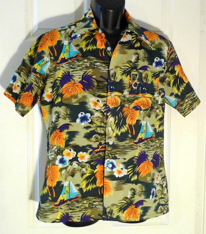 Hawaiian Shirt Vintage Aloha Brand Shirt Mens Medium Green