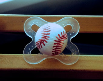 Batter Up Baseball Custom Hand Painted Pacifier by PiquantDesigns