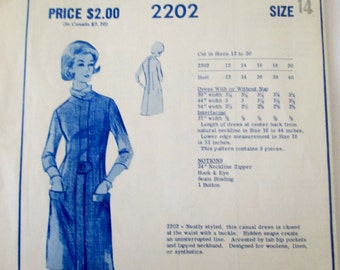 Modes Royale 2202 Women's 60s Casual Dress Sewing Pattern Size 14 Bust 34