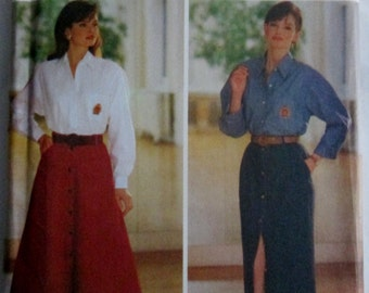 Butterick 6909 JG Hook Womens 90s Loose Fitting Shirt & Flared or Tapered Skirt Sewing Pattern Bust 30 to 32