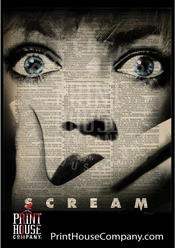 Scream Halloween Decor 8x10 Dictionary Art Print