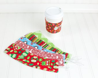 Ugly Christmas Sweater Party Favor, 6 Reusable Coffee Sleeve Cozy, Holiday Fabrics, Men or Women