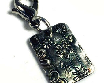 Rectange flower silver bracelet, purse, cell phone charm metal clay silver PMC
