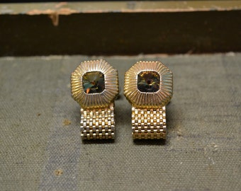 1960s Swank Rhinestone Cuff Links