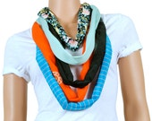Scarf - Infinity Scarf - Womens Chunky Black Orange and Floral Print Scarf