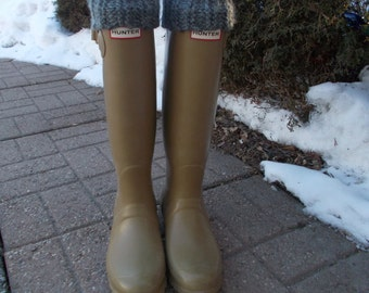 Fleece Rain Boot Liner, Gray Handknit Cuff with black sock , Beat the rush! Get your knit cuff liners now!BootSocks,RainBoots,Size Sm/Med6-8