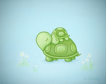 Sleeping Turtles - Matted 8x10 Canvas Painting Print - Childrens Wall Art