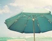 Beach Umbrella Photo - Fine Art Photography, aqua, blue, teal, seashore photography,  yellow, modern, coastal, wall art, ocean, home decor
