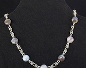 Sterling silver Botswana agate chainmaille necklace. White browns bridal necklace.
