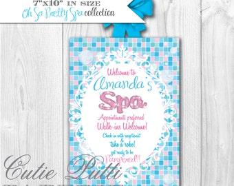 AMY ATLAS FEATURED Spa Party Collection- Printable Welcome Sign - Cutie Putti Paperie