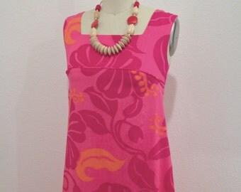 Vintage Pink and Orange Hawaiian Dress SZ