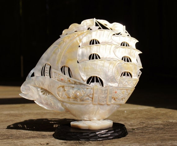 Mother of Pearl Chinese Carved Ship