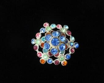 Vintage Large Pot Metal Fruit Salid Colorful Tiered Rhinestone Dome Snowflake Pin Brooch