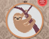 Happy sloth - PDF cross stitch pattern - a smiling and cute animal pattern!