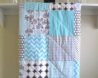 Modern Baby Quilt -  Bicycles - Gender Neutral Crib Quilt - Flannel or Minky Back - Gray, White, Aqua, Blue, Nursery Bedding, Homemade