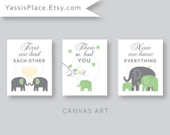CANVAS Art, Elephant Family, Baby boy, Yellow Green Gray nursery decor, Kids Wall Art, First we had each other Set of 3 by YassisPlace