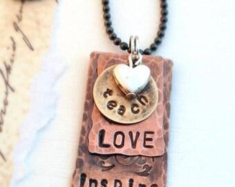 Teach Love Inspire Necklace gift for teachers homeschool moms