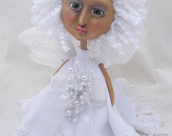 Snow Angel - Art Doll - OOAK Folk Art